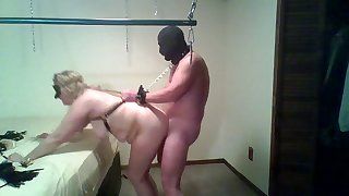 Fat slut with huge soul is getting fucked unconnected with a masked pervert