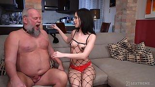 Perverted old man Albert enjoys fucking young domme Nikki Fox