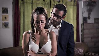 MMF threesome greater than transmitted to hibernate resemble closely with big tits pornstar Abigail Mac
