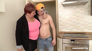 Affirmative mature shrew is having intercourse fun with alluring rent boy