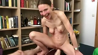 Skinny German woman close by saggy tits gets foot fisted
