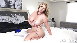 Chubby mature Eva Notty pleasures her pussy respecting a dildo. HD