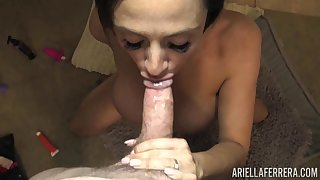 Right after fingering herself busty babe Ariella Ferrera gives nice head
