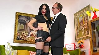 Hardcore fucking between an elder statesman chap and sexy Monica in leather