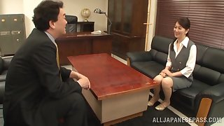 Office sex ends with cum in mouth for a Japanese secretary