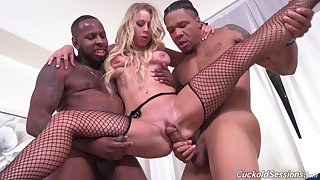 Black men set apart Katie Morgan's cuckold watch them fuck the brush good