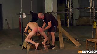 Twink endures old man's blarney in brutal BDSM cam play