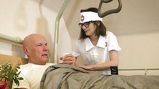 Doting nurse Sara Bell takes curious care of an old fogey