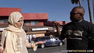 Black dude picks relative to Arab babe Nadia Ali who gives him a blowjob and rides huge cock