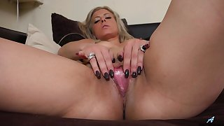 Horny matured wife Alana Luv takes wanting her black panties to play