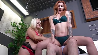 Catherine Boss gets talked into sharing a cock with another babe