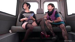 Obscene grannies Zuzana and Blanka take anfractuosities riding one dick