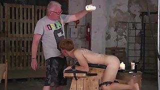 Old man fucks twink close to the ass via gay BDSM