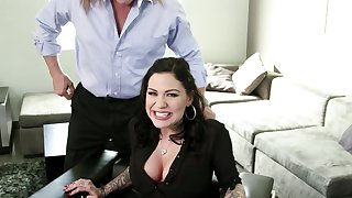Attractive brunette pleases boss down insane fucking moments