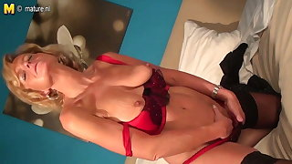 Naughty real granny playing with her old pussy