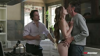 Sex-appeal chick Samantha Hayes is fucked by two hot blooded boyfriends