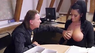 Beamy titted German mom secretary foodstuffs boss' load in horny hard office