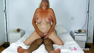 Old Busty Spanish Granny - mature with big naturals rides dick