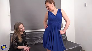 Lorushka and Nelly eating pussy and penetrating with a dildo