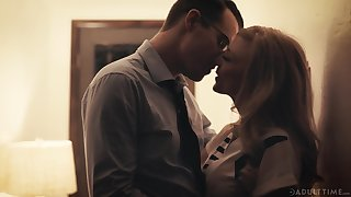 Beautiful aged woman Nina Hartley has an affair with one handsome man