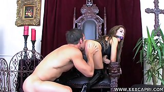 Gagged babe leaves horny guy to lick and fuck their way tiny ass