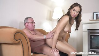 Older man feels ripe pussy smashing his distressed learn of