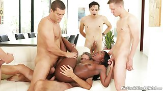 Slutty black cooky Noemie Bilas fucked at the end of one's tether a slew of white dudes